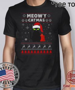 Meowy Christmas Ugly Crewneck Christmas Gift For Cat Lover 2020 T-Shirt
