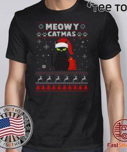 Meowy Christmas Ugly Crewneck Christmas Gift For Cat Lover 2020 T-Shirt