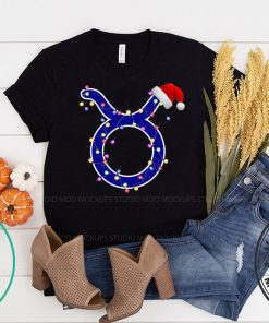 Taurus Zodiac Sign In Christmas Lights And Santa's Hat T-Shirt