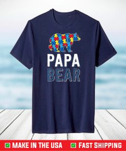 Papa Bear World Autism Awareness Day Family Puzzle Piece T-Shirt