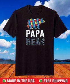 Papa Bear World Autism Awareness Day Family Puzzle Piece T-Shirt