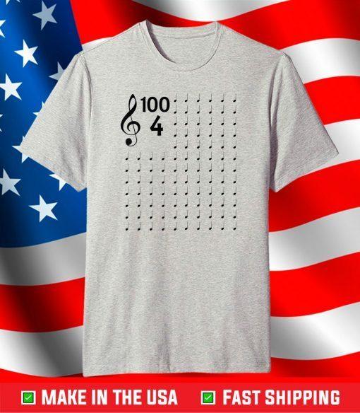 100th Day of School Musical Notes Music Teacher T-Shirt